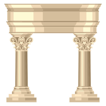 Corinthian realistic antique greek temple with columns Illustration