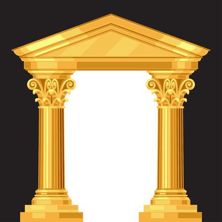 열 린 사실적인 골동품 그리스 사원