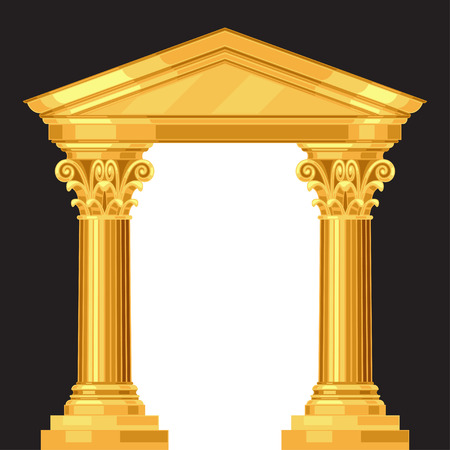 derecho romano: Corinto realista templo griego antiguo con columnas