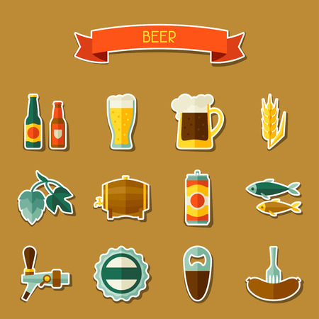 brew beer: Beer sticker icon and objects set for design Illustration