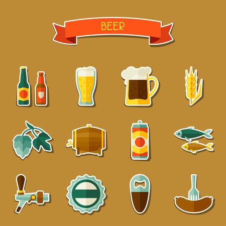 tarro cerveza: Icono de etiqueta de la cerveza y los objetos fijados para el diseño