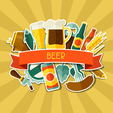 Background design with beer sticker icons and objects Vector