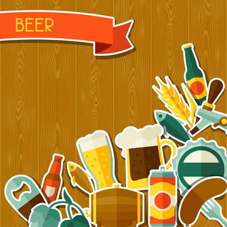 jarra de cerveza: Diseño de fondo con los iconos y objetos de la etiqueta engomada de la cerveza