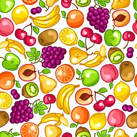 nectarine: Seamless pattern with stylized fresh ripe fruits Illustration