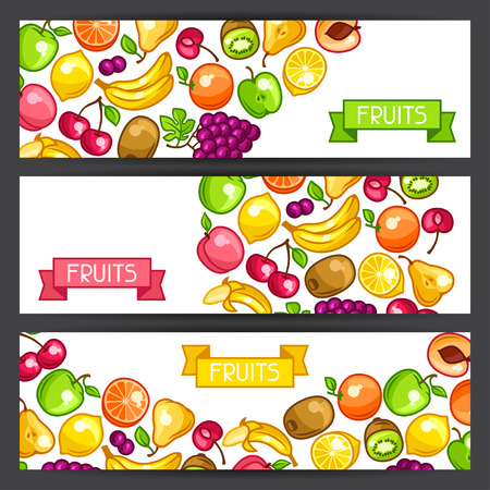 ripe: Banners design with stylized fresh ripe fruits