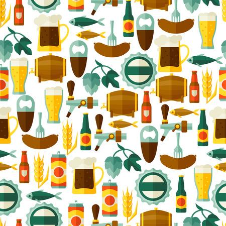 jarra de cerveza: Modelo inconsútil con los iconos y objetos de cerveza