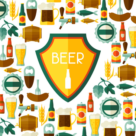 beers: Background design with beer icons and objects