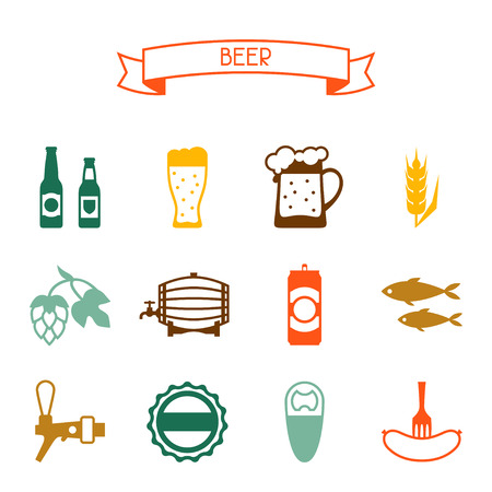 brewery  hops: Beer icon and objects set for design