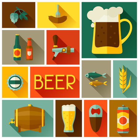 brewery  hops: Background with beer icons and objects in flat style Illustration