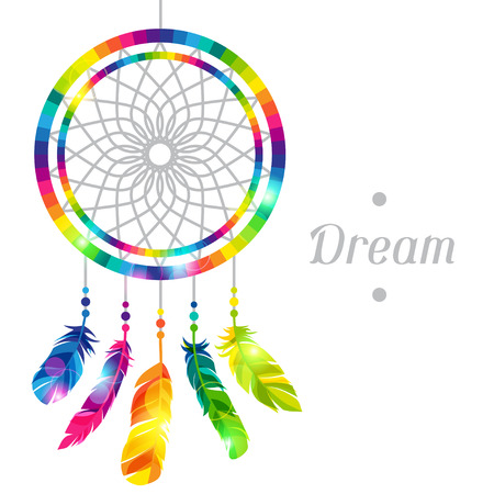 natives: Dream catcher with abstract bright transparent feathers Illustration