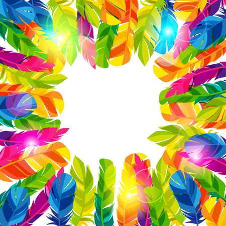 feathering: Colorful background with bright abstract transparent feathers
