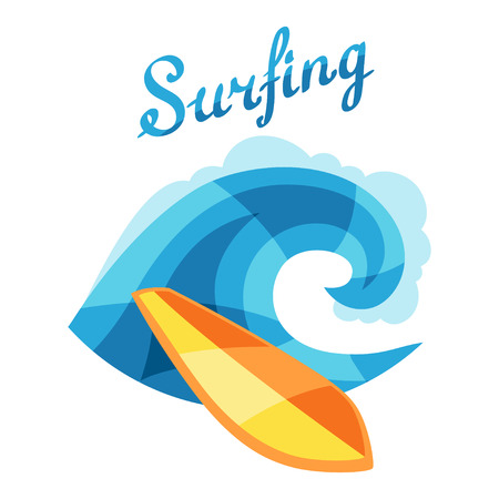 Bright surfing illustration or print for t-shirts Vector