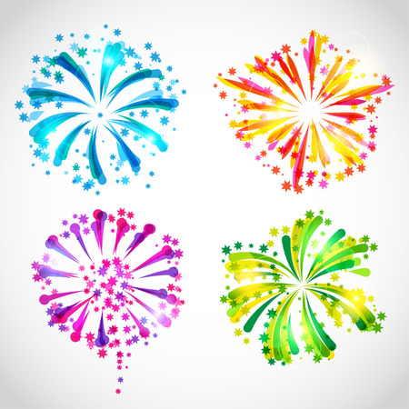 Set of bright colorful fireworks and salute 向量圖像