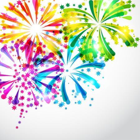 Arrière-plan avec des feux d'artifice aux couleurs vives et salut Illustration