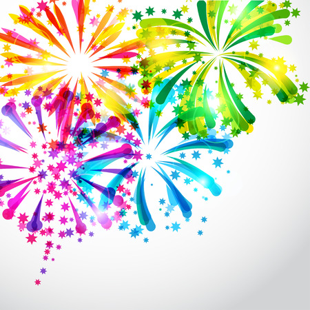 Background with bright colorful fireworks and salute Çizim