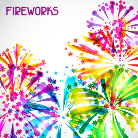 salute: Background with bright colorful fireworks and salute Illustration