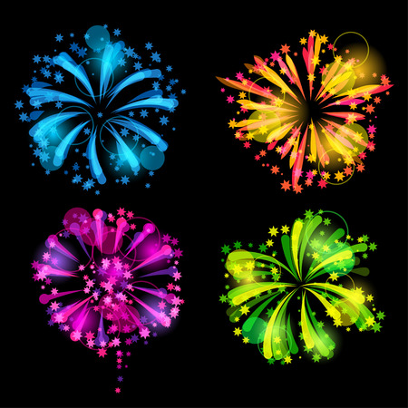 Set of bright colorful fireworks and salute Illustration