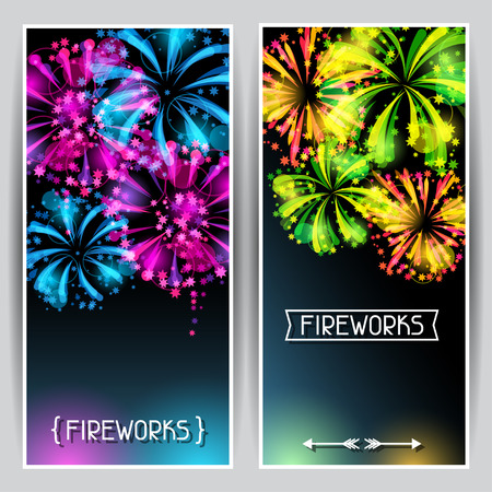 salute: Banners with bright colorful fireworks and salute