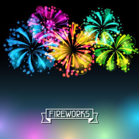 背景に明るいカラフルな花火、敬礼  イラスト・ベクター素材