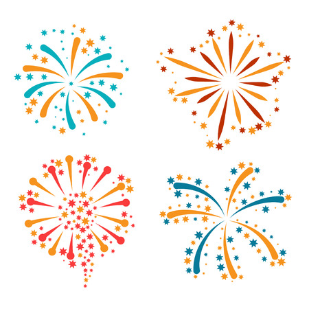 Set of abstract colorful fireworks and salute