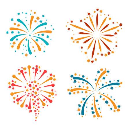 Set van abstracte kleurrijk vuurwerk en groeten