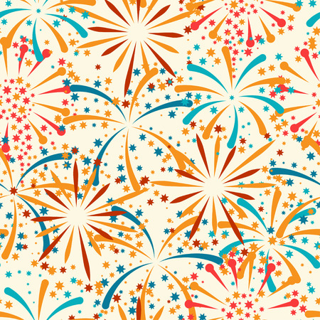 Seamless pattern with abstract fireworks and salute Illustration