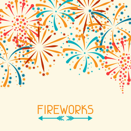 Background with abstract fireworks and salute Vectores