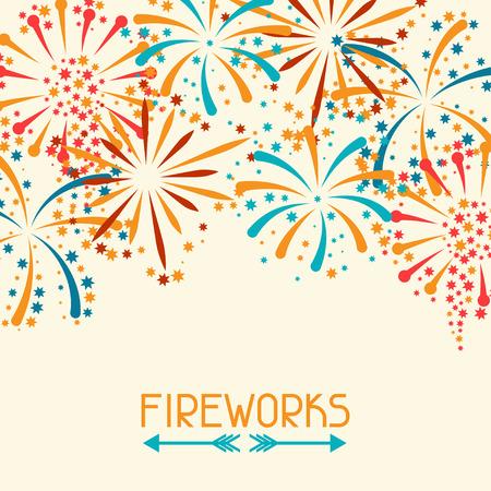 fireworks: Fondo con fuegos artificiales abstractos y saludo