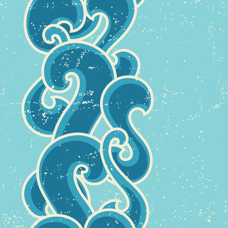 twiddle: Grunge retro seamless pattern with abstract curly waves Illustration