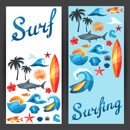Banners with surfing design elements and objects Vector