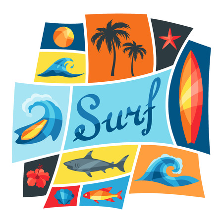 Background with surfing design elements and objects Vector