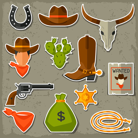 Wild west cowboy objects and stickers set