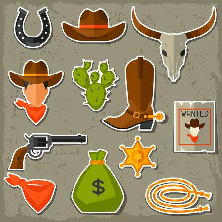 Wild west cowboy objecten en stickers set Stock Illustratie