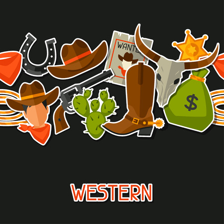 Wild west seamless pattern with cowboy objects and stickers Vector