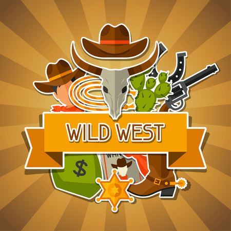 rodeo cowboy: Wild west background with cowboy objects and stickers