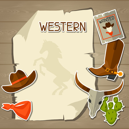 wanted poster: Wild west background with cowboy objects and stickers