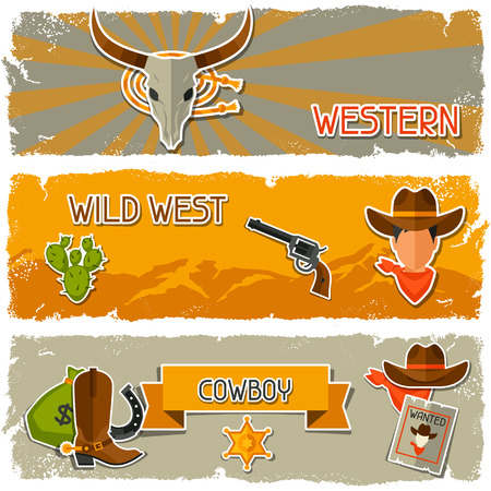 poster designs: Wild west banners with cowboy objects and stickers