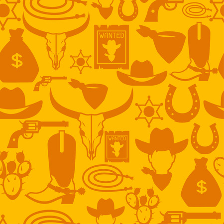 western clothing: Wild west seamless pattern with cowboy objects and design elements Illustration