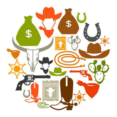 rodeo americano: Fondo al oeste salvaje con objetos de vaquero y elementos de diseño Vectores