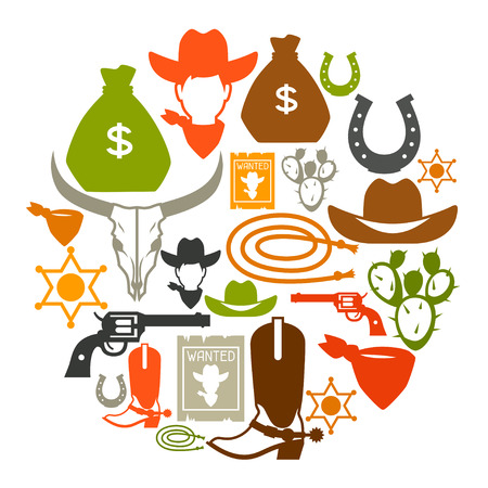 rodeo cowboy: Wild west background with cowboy objects and design elements