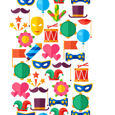 Celebration seamless pattern with carnival flat icons and objects Vector