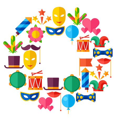 Celebration festive background with carnival flat icons and objects Vector