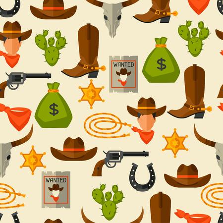 botas vaqueras: Salvaje Modelo incons�til del oeste con objetos de vaquero y elementos de dise�o
