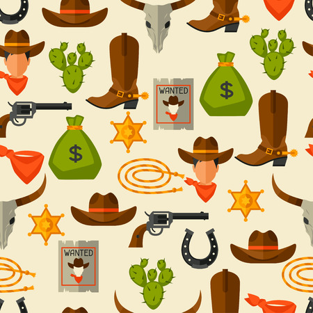 cowboy rope: Wild west seamless pattern with cowboy objects and design elements Illustration