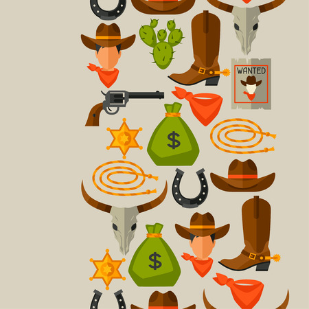Wild west seamless pattern with cowboy objects and design elements Vettoriali