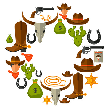cowboy rope: Wild west background with cowboy objects and design elements