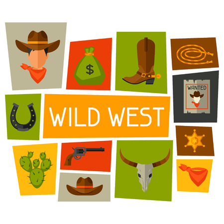 poster designs: Wild west background with cowboy objects and design elements