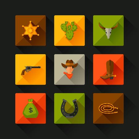 rodeo americano: Objetos de vaquero del oeste y elementos de diseño Salvaje Vectores