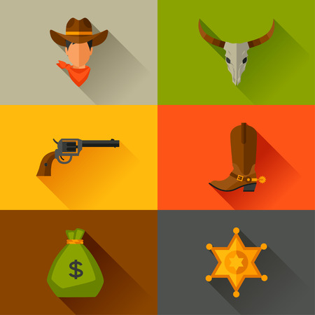 wild web: Wild west cowboy objects and design elements Illustration