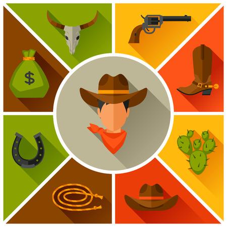 vaquero: Objetos de vaquero del oeste y elementos de diseño Salvaje Vectores